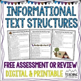 FREE Informational Text Structures Assessment