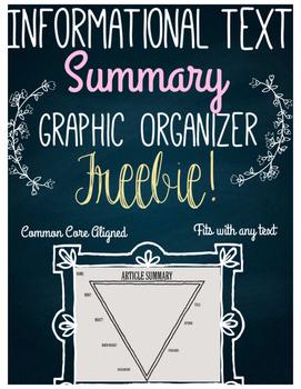 FREE Informational Text Summary Graphic Organizer