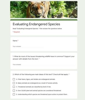 FREE Informational Text w/ CCSS Aligned Questions: Endangered Species Grades 5-6