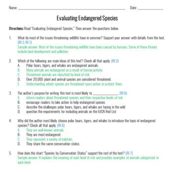 FREE Informational Text: Endangered Species: Grades 6-8 [Digital]