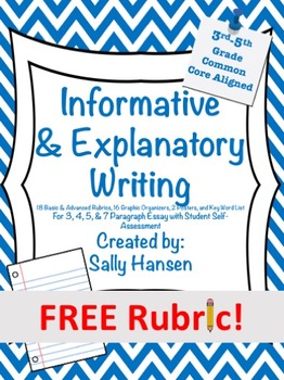 Informative/Explanatory Writing Basic Rubric CCSS Aligned for 3rd-5th FREEBIE!