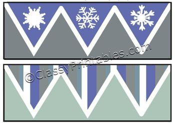 FREE Instant Download Winter Theme 4-in-1 Border Classroom