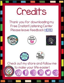 FREE DOWNLOAD - Instant Listening Center - QR Code - Great for Centers!