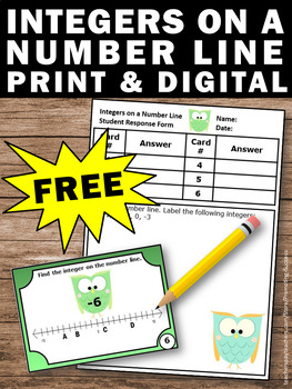 FREE Integers on a Number Line 6th Grade Math Centers Integer Task Cards