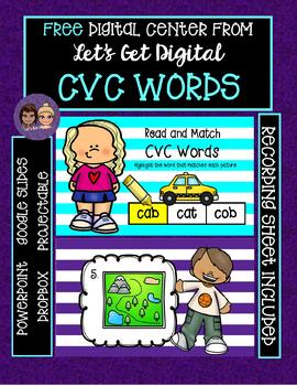 FREE Interactive Digital Center - Read and Match cvc Words