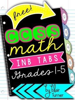 {FREE!} Interactive Notebook Divider Tabs - CCSS Math Grades 1-5