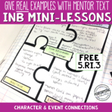 Interactive Notebook Pages 5th CCSS RI.5.3 Character and Event Connections
