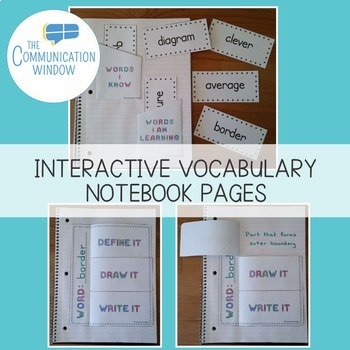 FREE Interactive Vocabulary Notebook Templates