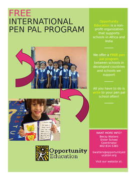 FREE International Pen Pal Program by Mrs Walters Wonderful