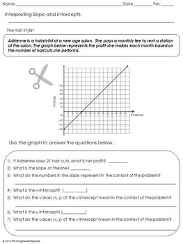 FREE Interpret Slope and Intercepts of Linear Graphs Activity Sheets