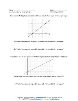 FREE Inverse Trig Functions Intro