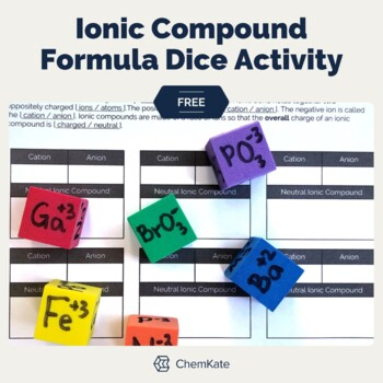 Free: Ionic Compounds Formula Ion Dice Activity Print and Digital Resource
