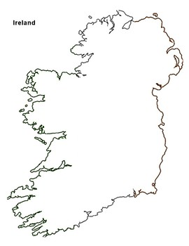 photograph about Ireland Map Printable named Absolutely free - Eire Map Define via The Harstad Choice TpT
