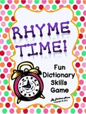 FREE! It's Time to Rhyme {Dictionary Skills Game}