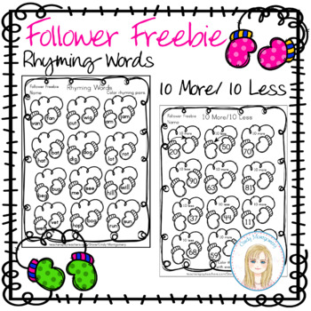 FREE January Follower Freebie Pages: Rhyming Words & 10 More/ 10 Less