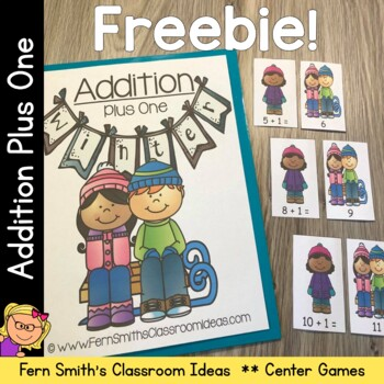 Winter Quick and Easy to Prep Math Center Game for Addition Plus One Freebie