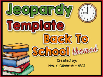 (FREE) Jeopardy Template Back to School Theme
