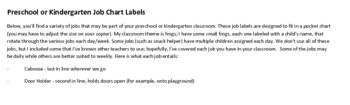 FREE Job Chart Labels (& Descriptions) for preschool or kindergarten