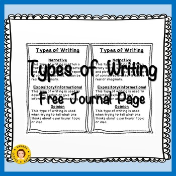 FREE Journal Page - Types of Writing/Essays - Narrative, Opinion, Expository