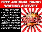 FREE Journal BINGO Writing Activity