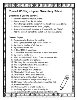 FREE Journal Writing for Upper Elementary with and without Grading Critieria
