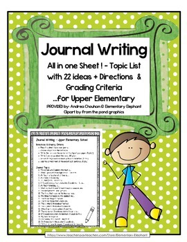 FREE Journal Writing for Upper Elementary with and without