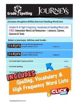 FREE Journeys 2nd Grade Spelling & Vocabulary Units 1-6 Lesssons Games Tests