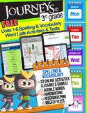 FREE Journeys 3rd Grade Spelling & Vocabulary Units 1-6 Le