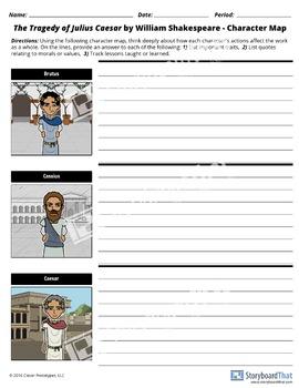 FREE Julius Caesar Character Map Worksheet