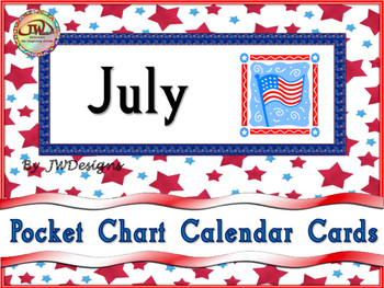FREE July Calendar Card Set - Pocket Charts
