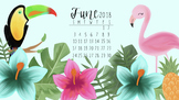 FREE June 2018 Tropical Calendar Computer Wallpaper