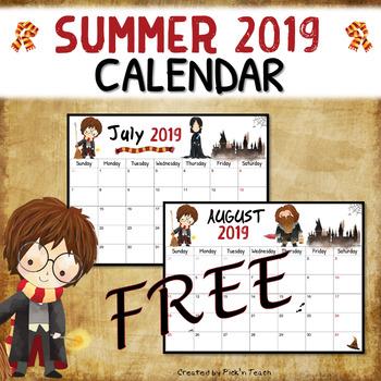 FREE - Summer 2018 calendar - Planner - for Harry Potter fans