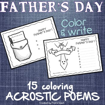 15 FATHER'S DAY coloring acrostic poems