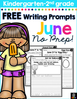 FREE June Writing Prompts for Kindergarten to Second Grade