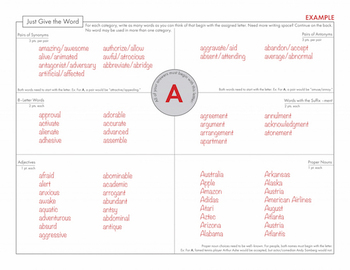 FREE Word Play Game, Team Building Activity, Worksheet for Sponge Time