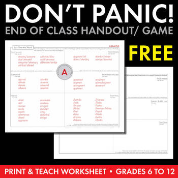 "FREE ""Just Give the Word"" Worksheet/Team Activity/Game, Pr"