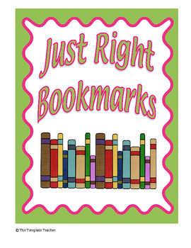 FREE Just Right Reading Bookmarks