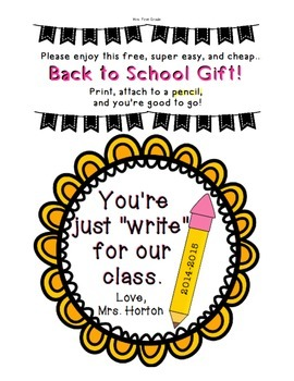 "FREE ""Just Write for Our Class"" Back to school gift tag"