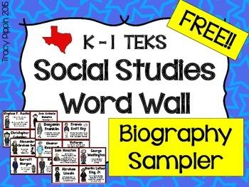 FREE K-1st Social Studies TEKS Biography Cards