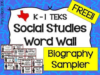 FREE K-1st Social Studies TEKS Biography Cards