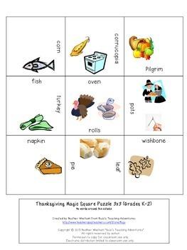 FREE Thanksgiving Vocabulary Center Game