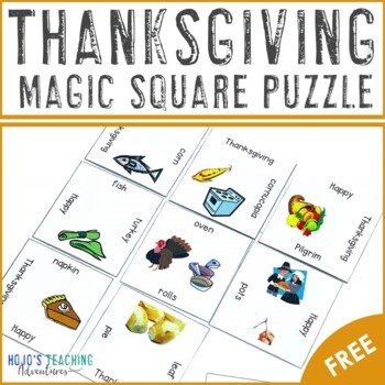 FREE Thanksgiving Vocabulary Center Game