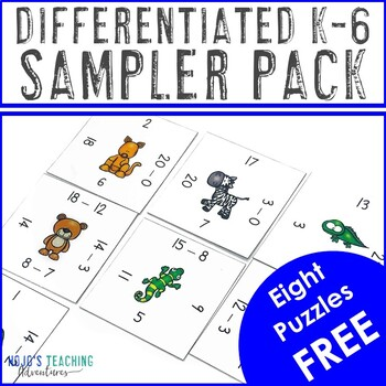 FREE K-6th Grade Differentiated Magic Square Puzzles Sampler