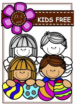 FREE - KIDS and Eggs Digital Clipart (color and black&white)