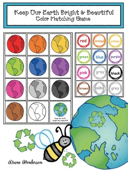 """Free Earth Day Activity: """"Keep Our Earth Bright & Beautiful"""" Color Matching Game"""