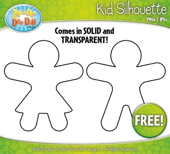 {FREE} Kid Silhouette  Clipart — Includes Solid and Transp