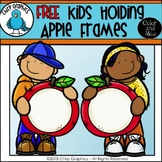 FREE Kids Holding Apple Frames Fall Clip Art Set - Chirp Graphics