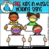 FREE Kids in Masks Holding Signs Clip Art Set - Chirp Graphics