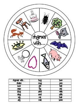 FREE Kinder Rhymes with Wheel & Clothespin Activity