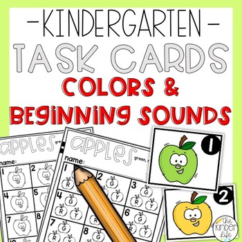 FREE Kindergarten Apples Task Cards Colors Numbers Letters